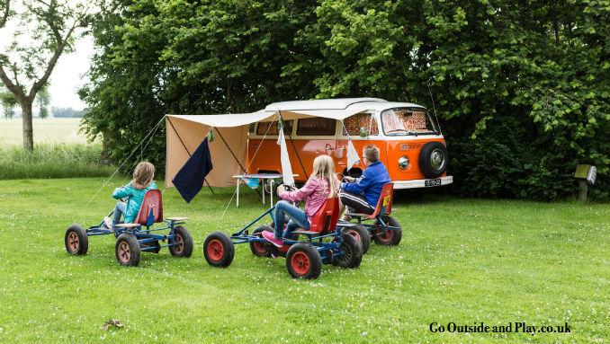 go outside go camping VW camper go karts fun